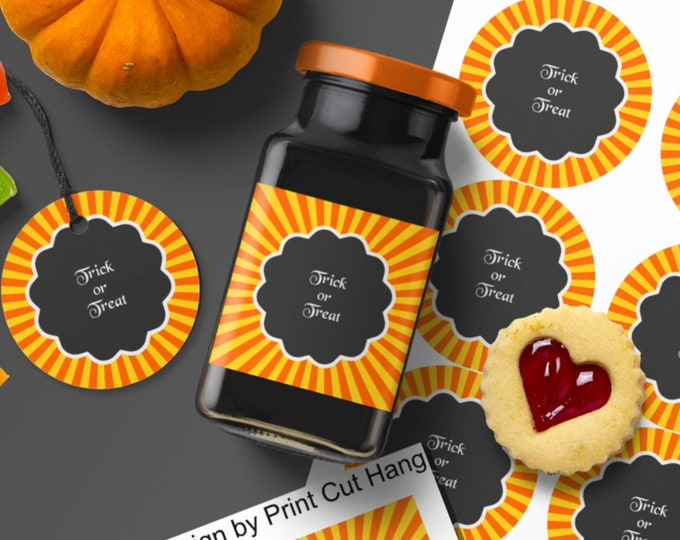 Editable Halloween Labels Tags Templates with Scalloped Text Frame