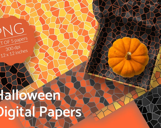 Halloween Digital Papers Abstract Pattern Instant Download - PNG files