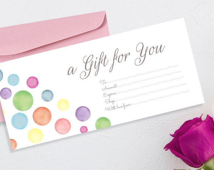 Editable Gift Certificate Template - Shop Voucher with Watercolor Dots Motif