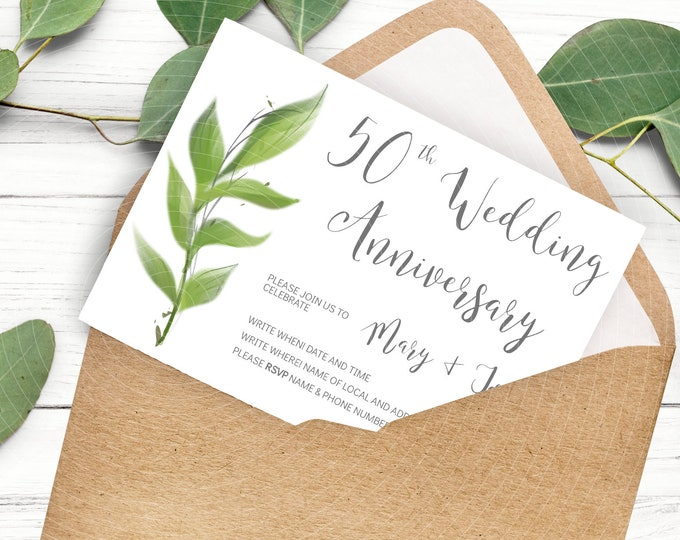 Wedding 50th Anniversary Invites - Greenery Invitation - Edit Yourself Template