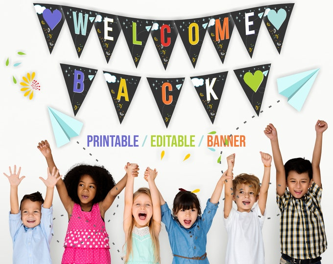 Printable Welcome Back to School Banner Editable with Corjl
