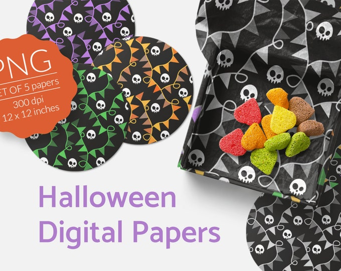 Halloween Digital Papers Skulls n Bunting Pattern Download PNG files