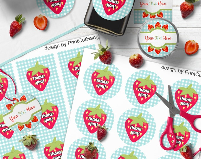 Strawberry Pantry Labels Templates Set Editable  Colors and Text
