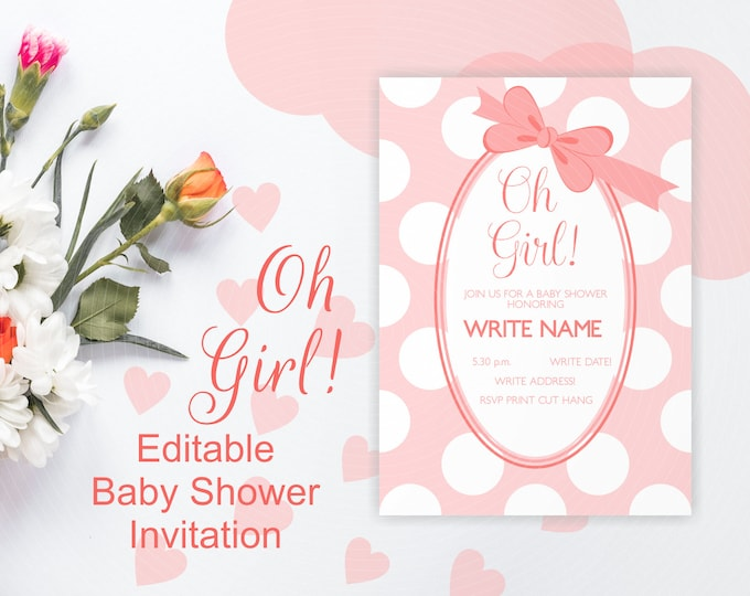 Oh Girl Baby Shower Photo Invitation - Peach Pink Polka Dots - Instant Editable Template