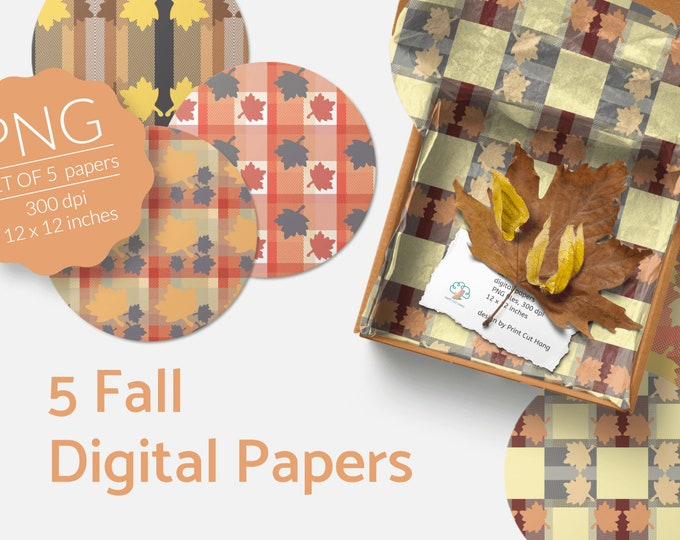 Fall Digital Collage Sheets Tartan n Leaves PNG files Download