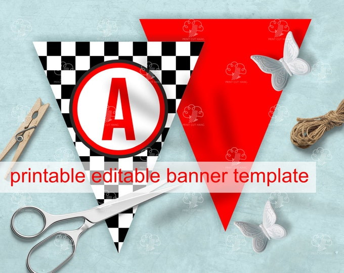 Printable Checkered Banner + Red Triangles - Editable Photo Banner