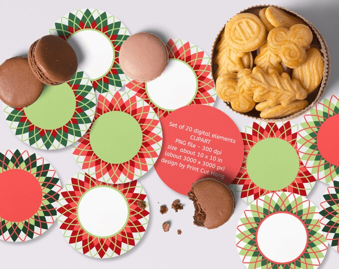 Instant Download Christmas Argyle Round Frames Clipart Set of 20