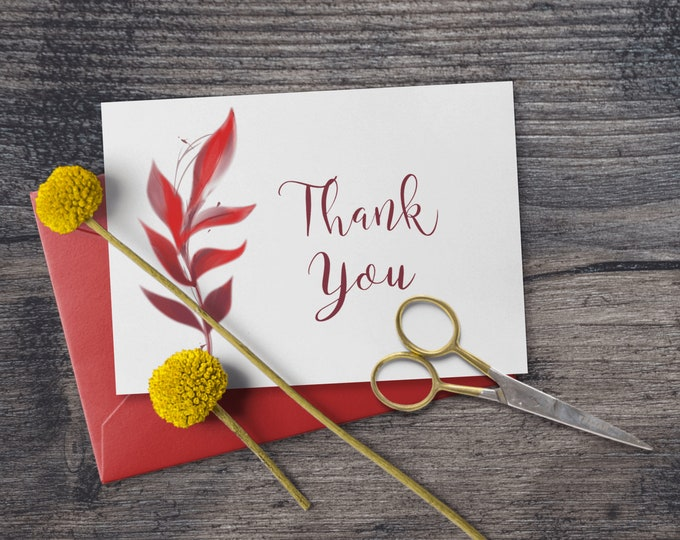 Printable Red Foliage Thank You Note Cards Editable Template