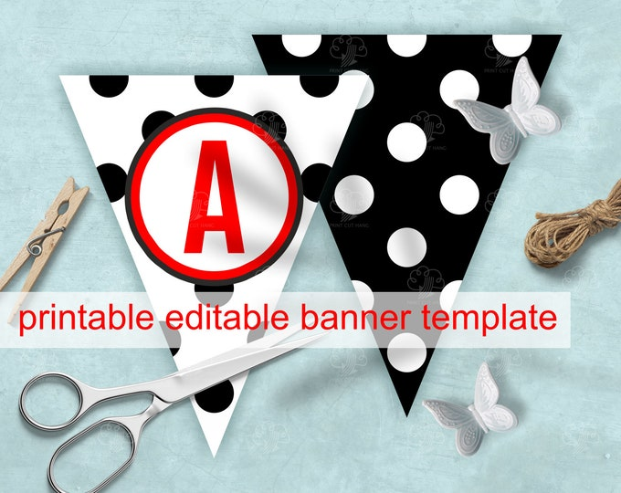 Polka Dot Banner - Black and White  - Editable Banner Letters + Space for Photo