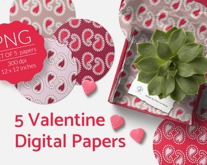 Valentine's Day Paisley Digital Papers Set of 5 PNG files Download