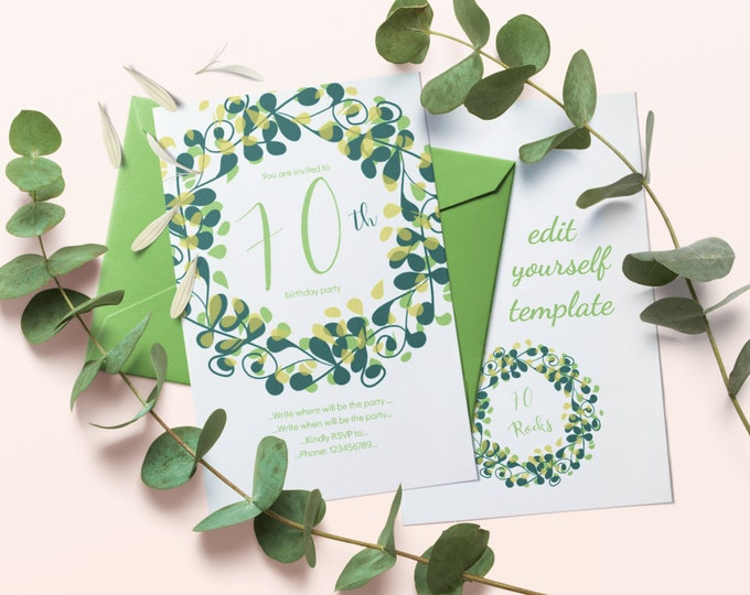 Green 70th Birthday Party Invitation Editable Template with Flourish Circle