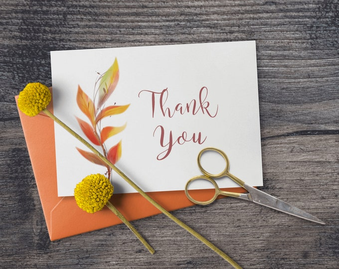 Printable Fall Leaves Thank You Note Cards - DIY Editable Template for Writing a Thank You Note with Warm Colors Leaves - Seasonal Cards