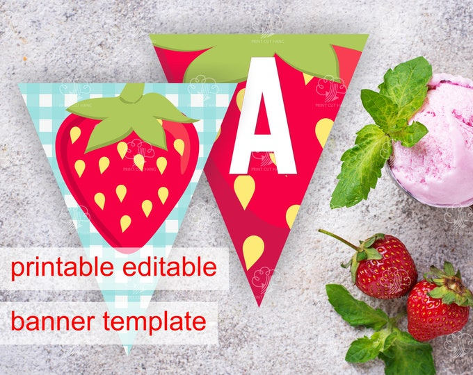Editable Red Strawberry Banner Pennants