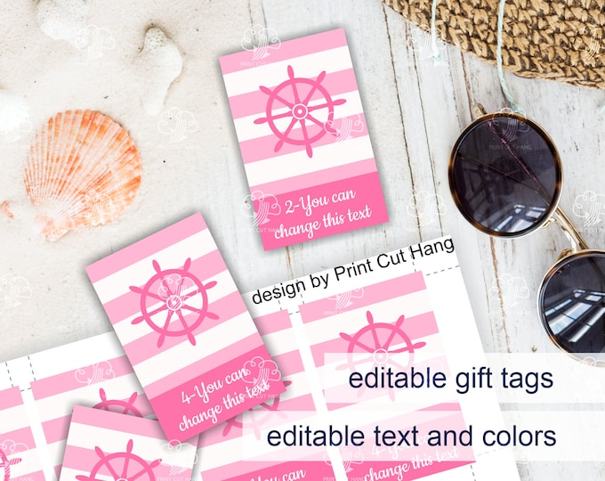Pink Nautical Baby Girl Shower Candy Tags with Pink Boat Wheel - Editable Corjl Templates for Personalized Favor Tags