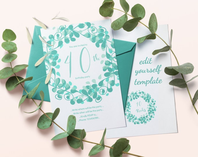 Editable Invitation Template for 40th Birthday Party with Teal Flourish Wreath