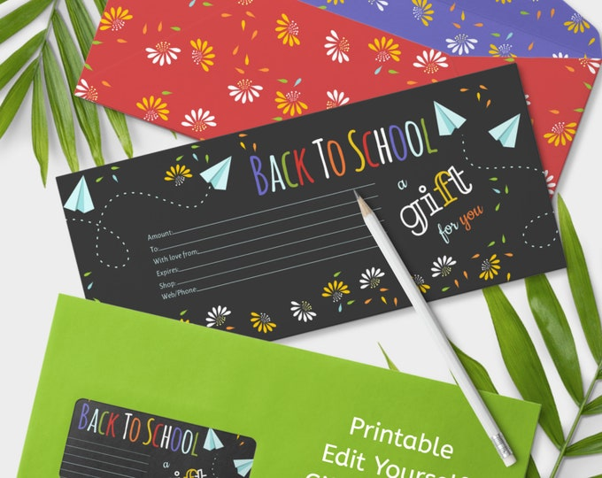 Back to School Gift Certificate Edit Yourself Printable Shop Voucher