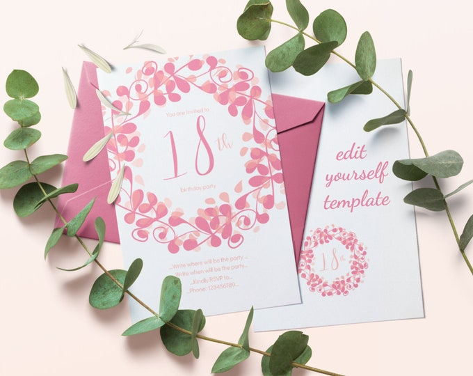 Instant Editable 18th Birthday Party Invitation Template with Pink Flourish Circle