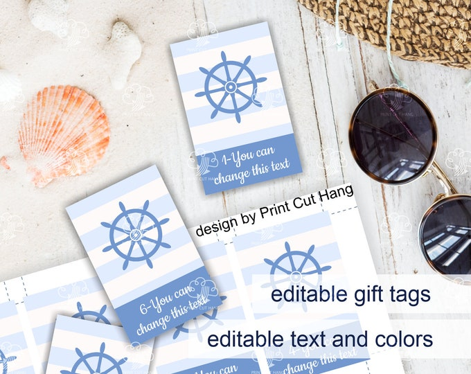 Printable Nautical Boy Baby Shower Favor Tags - Editable Templates for Custom Blue Baby Shower Candy Tags