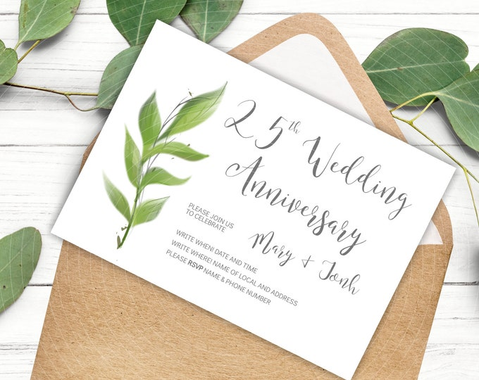 Silver Wedding 25th Anniversary Invites - Edit Yourself Parents Anniversary Card Template