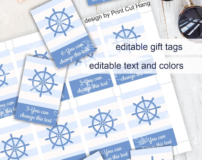Nautical Baby Boy Shower Favor Tags - Editable Candy Tags Template