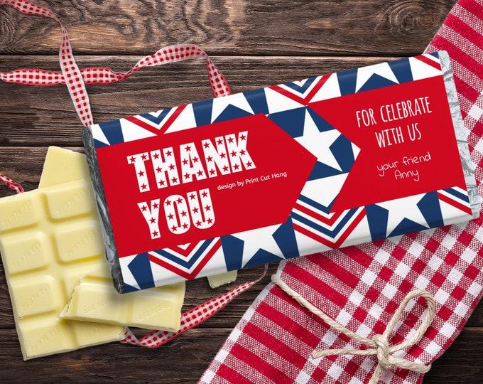 Printable Thank You Candy Bar Wrap Patriotic Holiday Editable Template