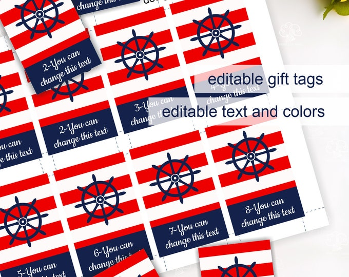 Editable Red Blue White Striped Tags Template - Printable Nautical Patriotic Favor Tags