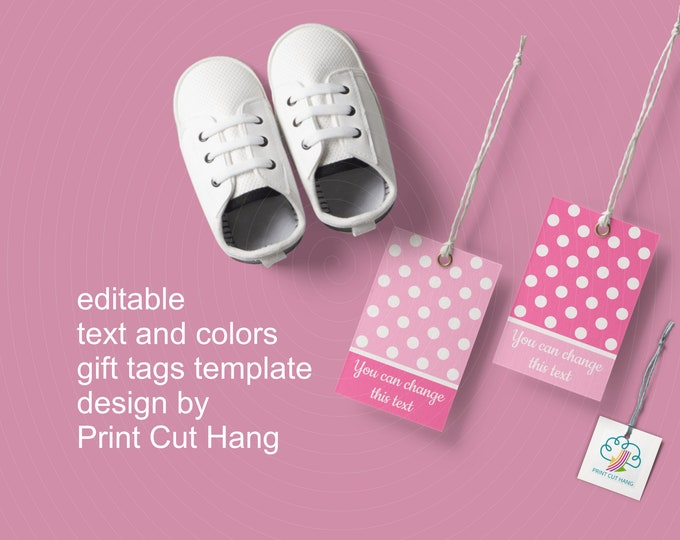 Girl Baby Shower Polka Dot Tags Printable - Corjl Editable Templates for DIY Personalized Tags