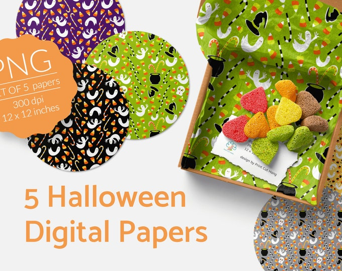 Kids Friendly Halloween Digital Papers Candy Corn n Ghosts PNG files