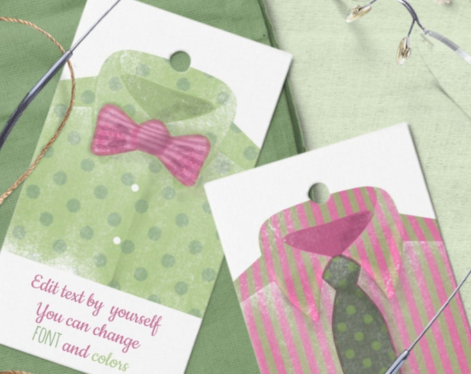 Editable Templates for Favor Tags for Him with Watercolor Men's Shirt Motif
