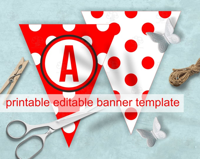 Photo Bunting Banner - Red White Polka Dot - Editable Letters and circles