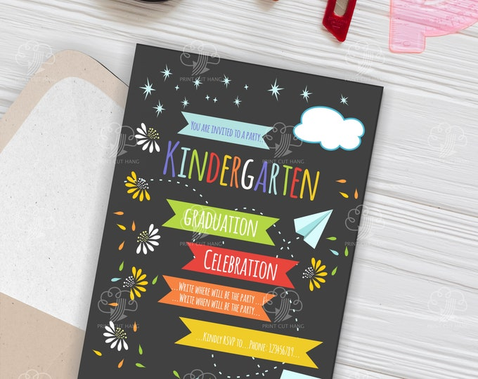 Kindergarten Invitation For Graduation - Editable Invites Template - Dark Background With Bright Colorful Elements