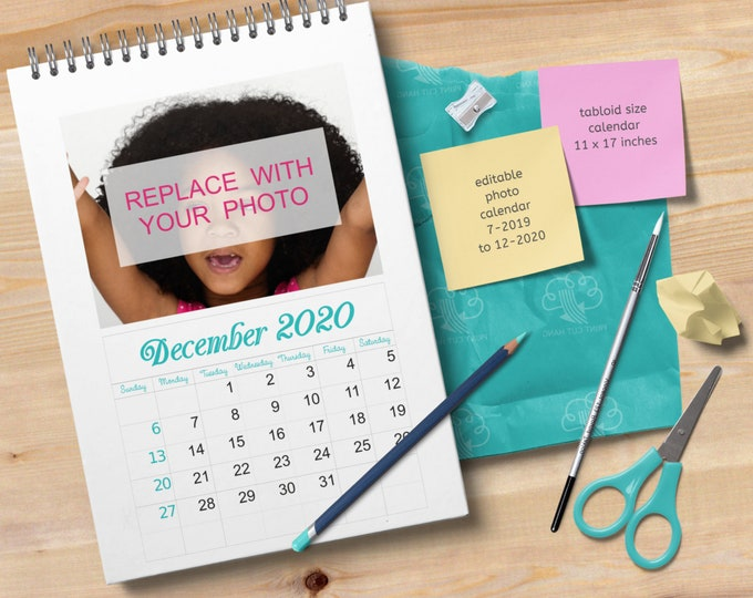 2020 Photo Calendar Editable Template in Tabloid Size
