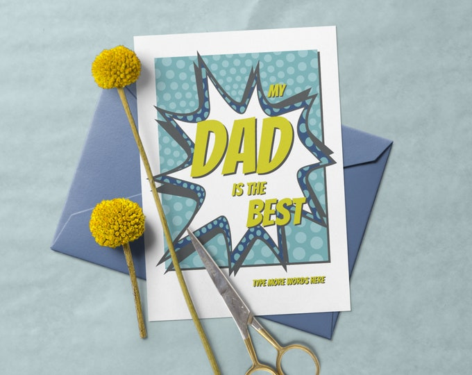Father's Day Greeting Card - Cartoon Style - Edit Text with Corjl