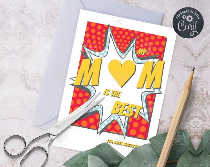 Editable Red Mothers Day Card with Heart in Word Mom