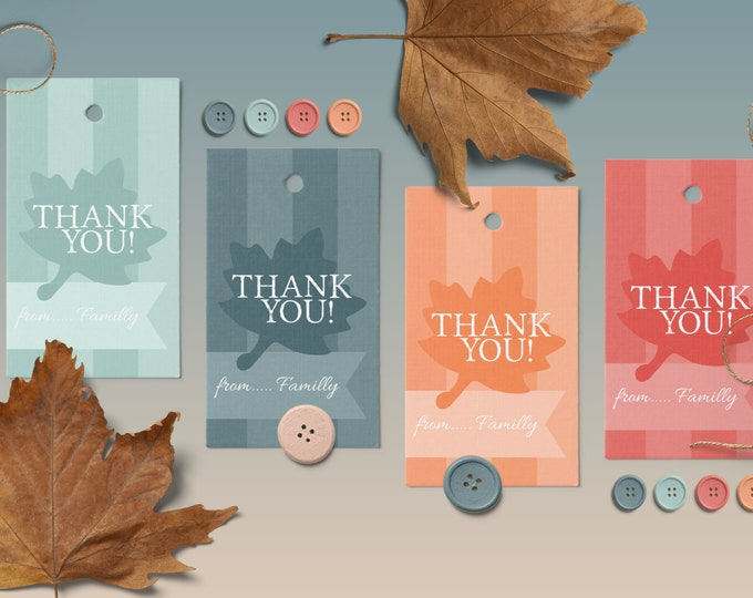 Set of 4 Editable Templates Favor Tags with Fall Leaf in Blue and Orange Tones