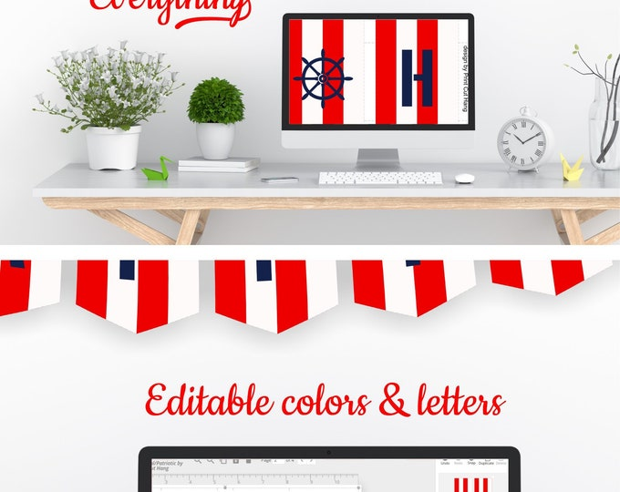 Red White Striped DIY Party Garland - Nautical Pennants Template