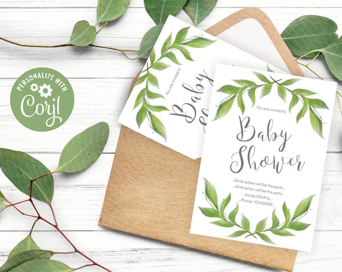 Watercolor Greenery Wreath Invitation Template for Gender Neutral Baby Shower - instant editable