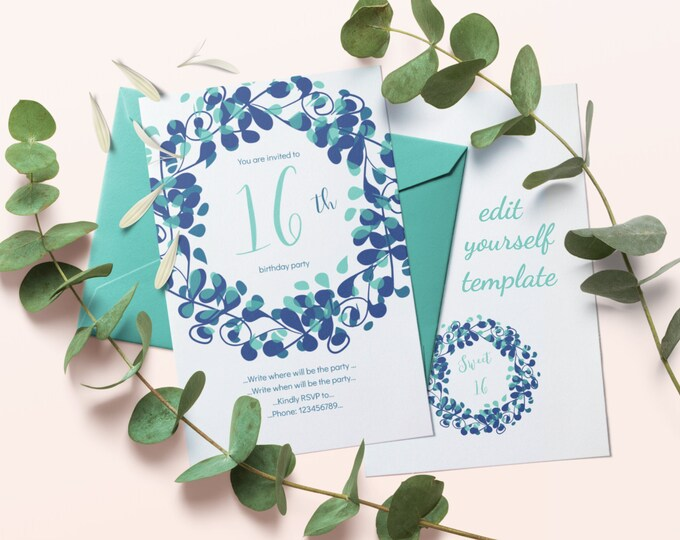 DIY Editable Template for 16th Birthday Invitation with Blue Flourish Wreath