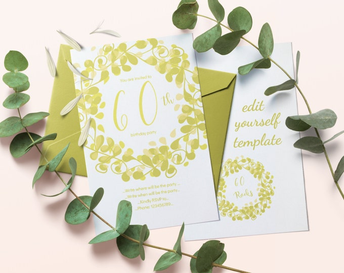 Light Green 60th Birthday Invitation Instantly Editable Template with Flourish Ornament