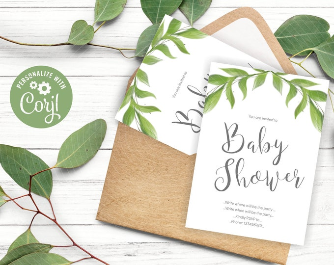 Greenery Baby Shower Invites with Watercolor Leaves Clipart - DIY Invitation Template