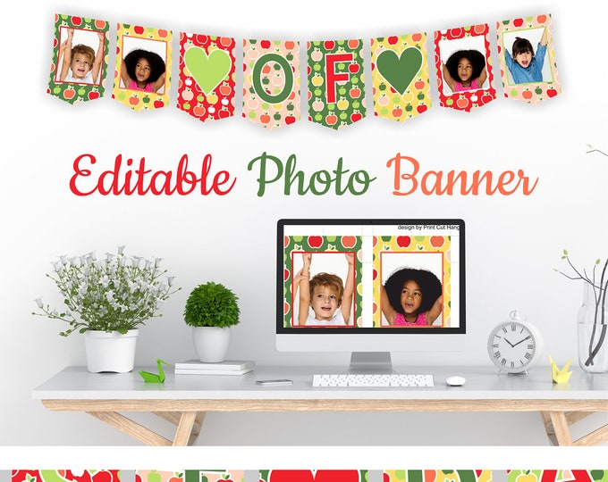 Last Day Of...Photo Bunting Template with Colorful Apples Background - Editable Banner for Kindergarten and Preschool