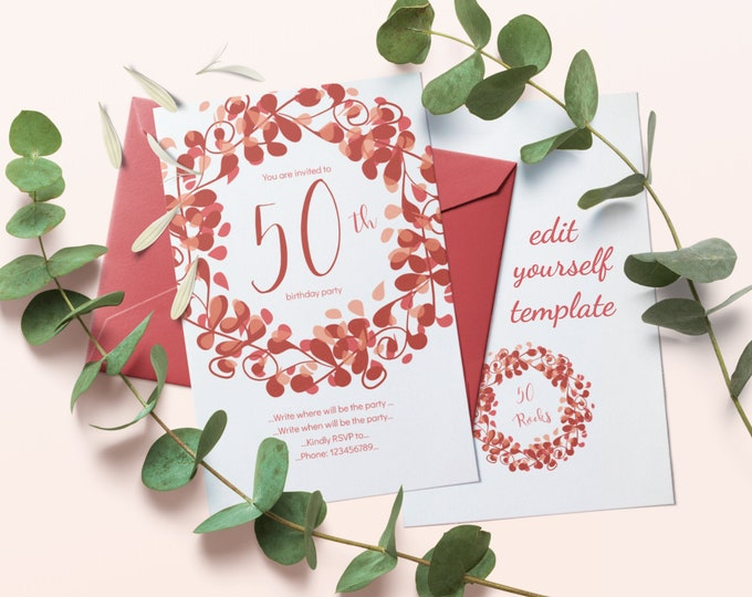 50th Birthday Party Invitation Editable Template with Red Brown Flourishes Ornament