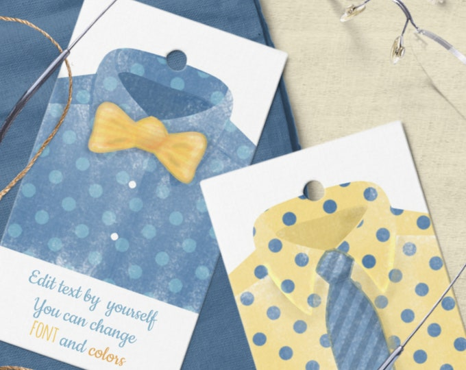 Editable Father's Day Tags Templates with Watercolor Men's Shirt Motif