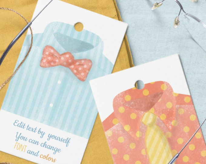 Dad's Day Tags Editable Text Templates with Watercolor Men's Shirt Motif