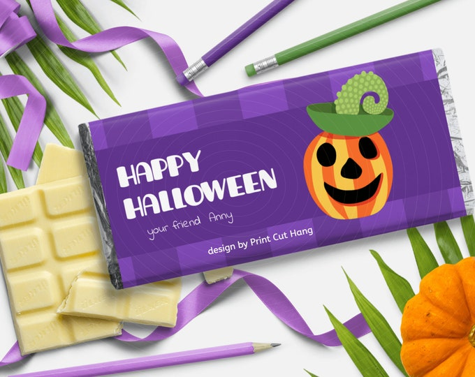 Printable Halloween Chocolate Wrap with Jack O Lantern Corjl Template - DIY Custom Candy Wrappers - Editable Text and Colors