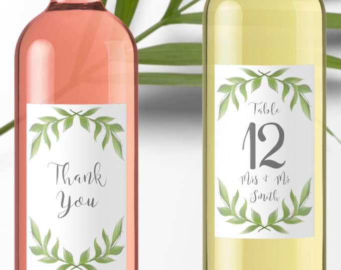 Printable Greenery Wedding Wine Labels - Template for Table Numbers and Thank you Wine Labels - Customize Yourself