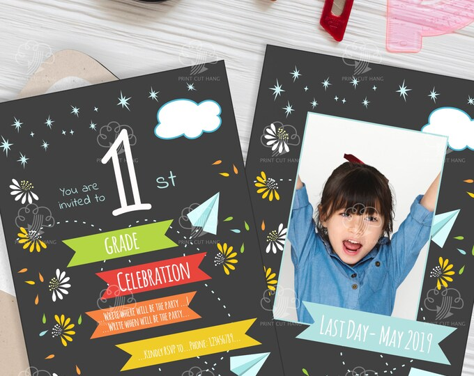 Editable 1st Grade Photo Invitation Template for Last Day of School Party