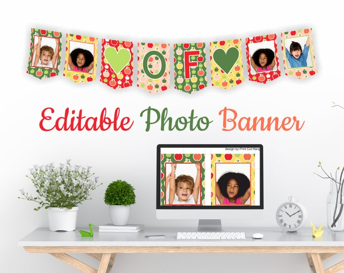 Editable Last Day Of...Photo Banner Template - Colorful Apples Background - Preschool Bunting