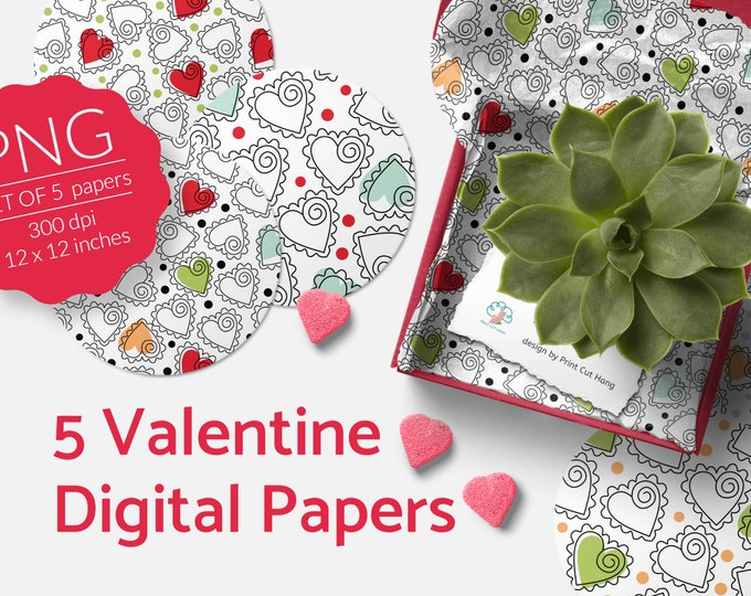 Valentine's Scrapbooking Papers Doodle Hearts Set of 5 PNG files