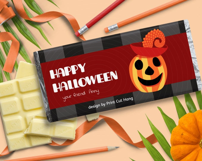 DIY Halloween Candy Wraps Editable Template for Halloween Chocolate Favors
